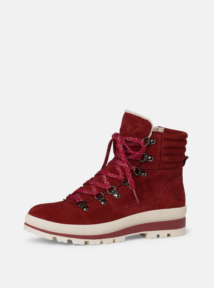 Tamaris Červené dámske semišové zimné topánky Tamaris
