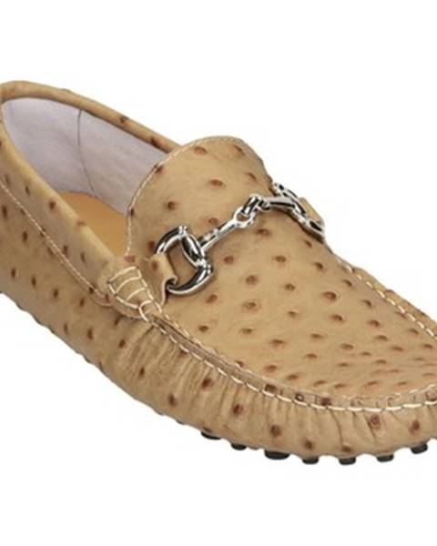 Béžové mokasíny Leonardo Shoes