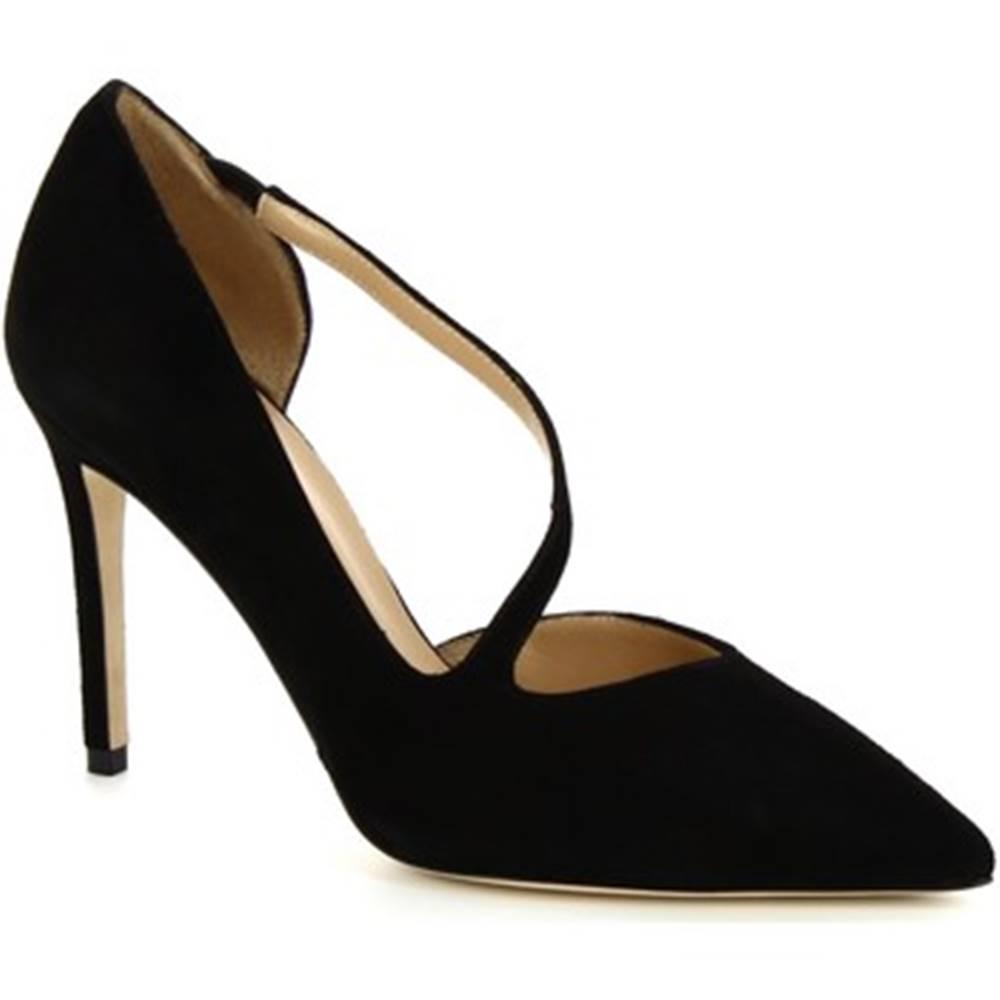 Leonardo Shoes Lodičky Leonardo Shoes  9243  CAMOSCIO NERO