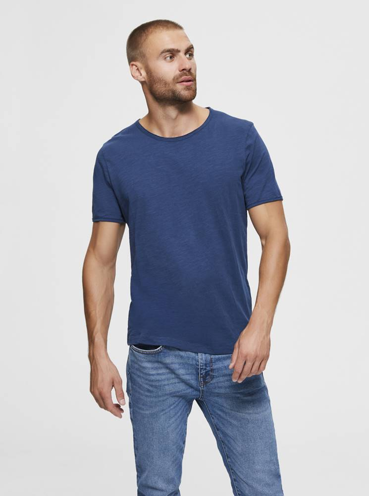 Selected Homme Modré basic tričko Selected Homme Morgan