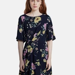 Tmavomodré dámske kvetované šaty Tom Tailor Denim