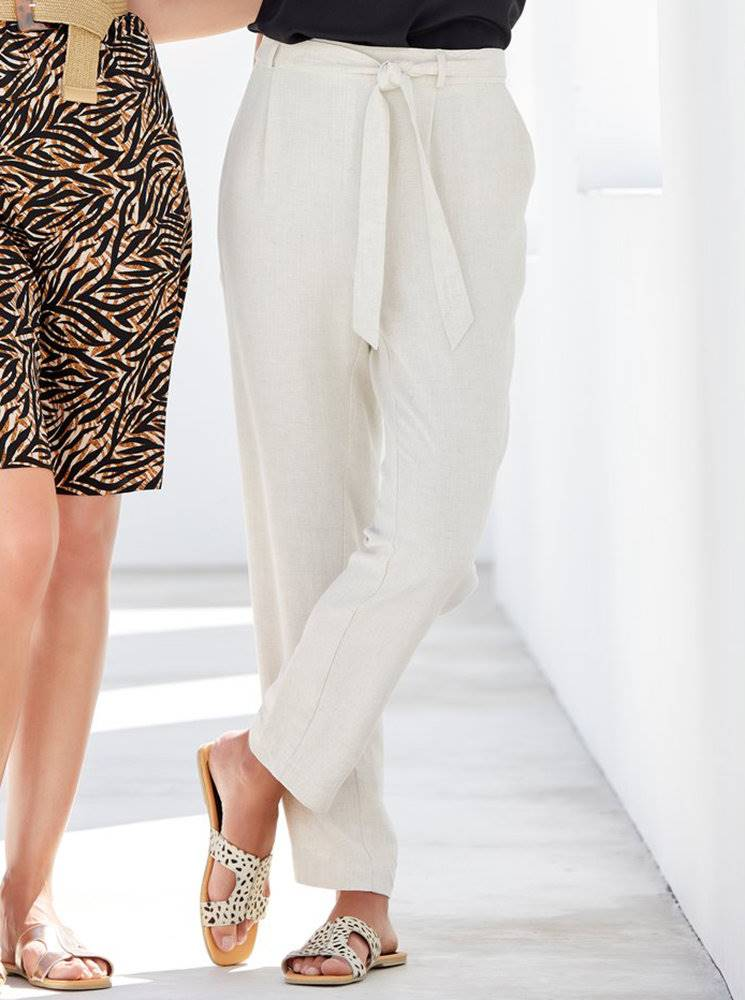 M&Co Krémové nohavice s prímesou ľanu M&Co