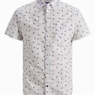 Biela vzorovaná košeľa Jack & Jones Hex