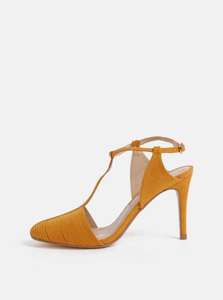 Horčicové sandálky v semišo...