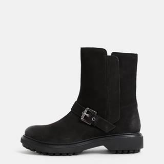Černé dámske kožené členkové topánky Geox Sheely