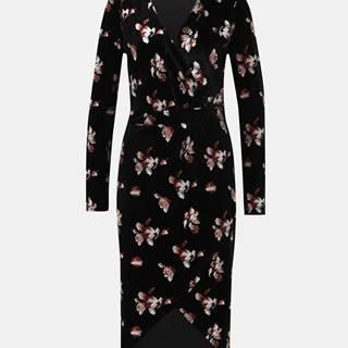 Čierne kvetované sametové púzdrové midi  šaty VILA Jakabi