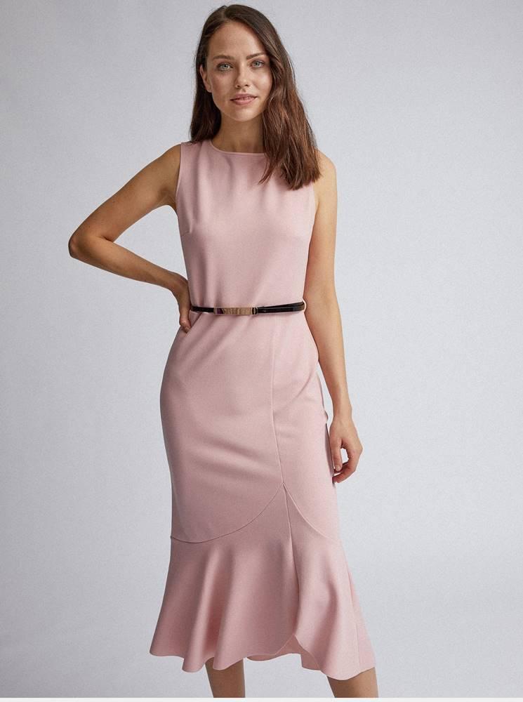 Dorothy Perkins Rúžové púzdrové šaty s volánom Dorothy Perkins