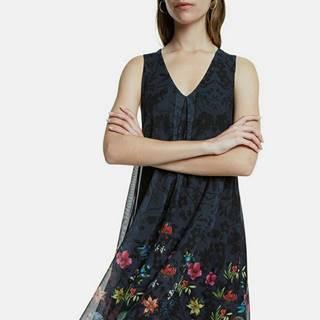 Čierne kvetované tylové šaty Desigual Carnagy