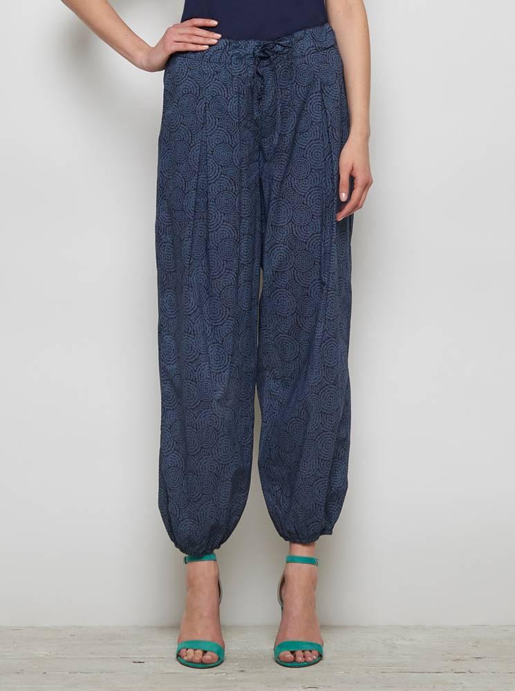Tranquillo Tmavomodré vzorované voľné nohavice Tranquillo