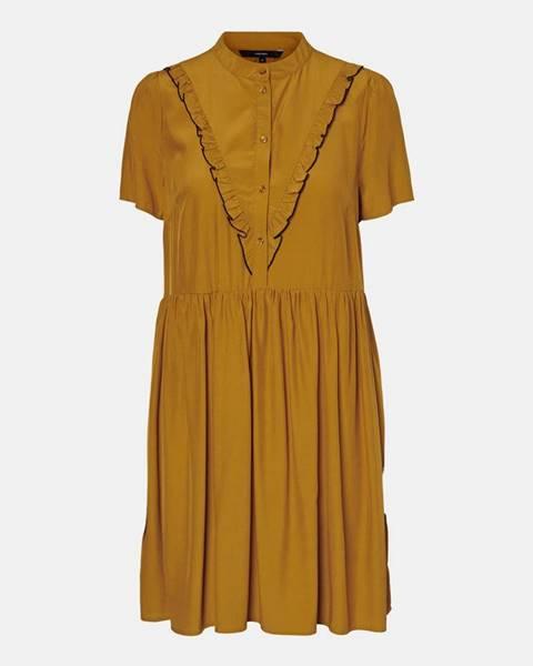 Horčicové šaty Vero Moda