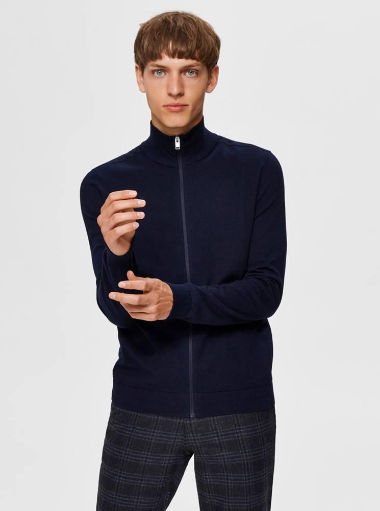 Selected Homme Tmavomodrý sveter na zips Selected Homme