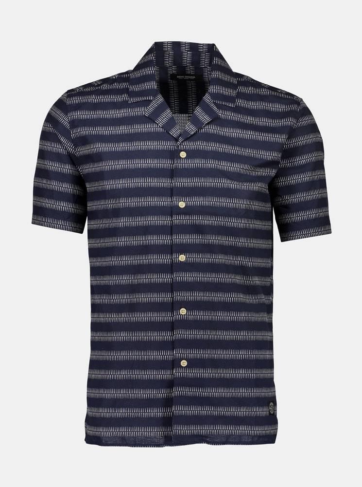 Shine Original Tmavomodrá vzorovaná košeľa s prímesou ľanu Shine Original